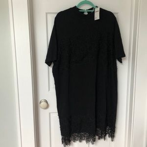 Short Sleeve Black Dress with lace details. New.